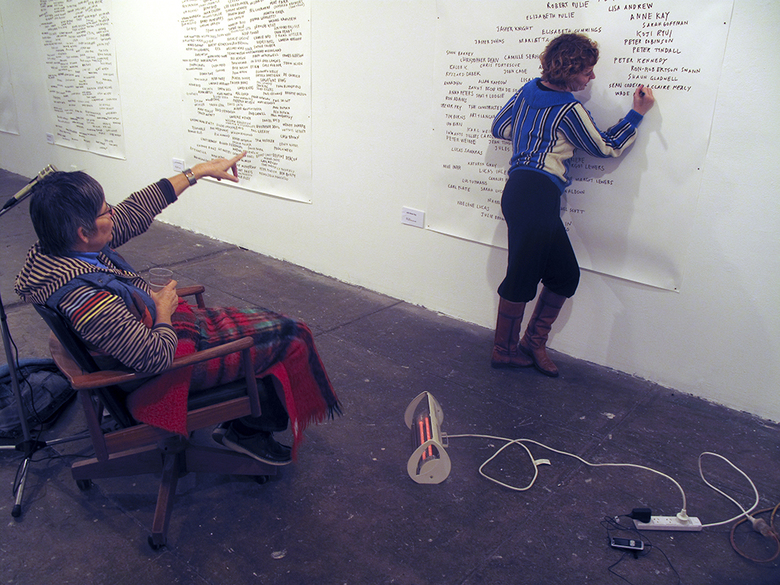 performance: Agatha Gothe-Snape with Anne Kaye, Every Artist Remembered, 2009 | Firstdraft Gallery, Sydney