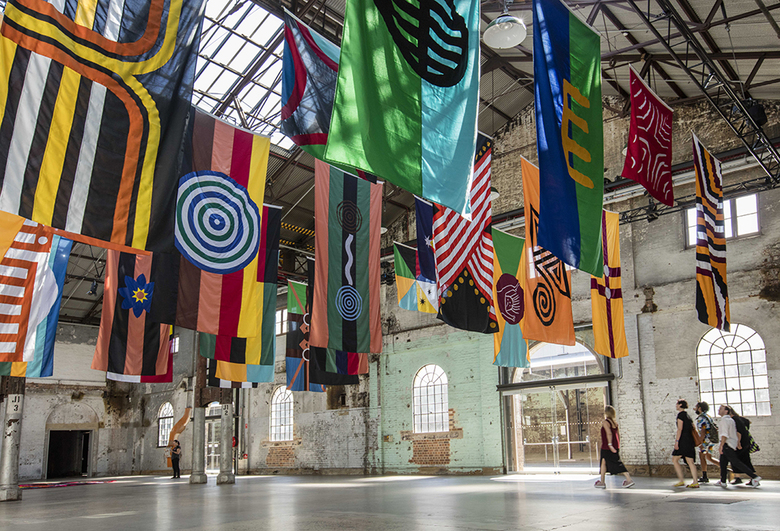 installation view: Archie Moore - United Neytions, 2014-2017 | The National: New Australian Art | at Carriageworks, Sydney