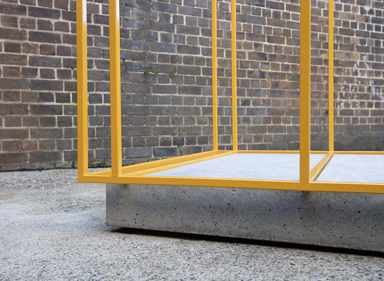 installation view: Bonita Bub, Box Study for Industry I, 2017 | outdoor sculpture court | at The Commercial Gallery, Sydney